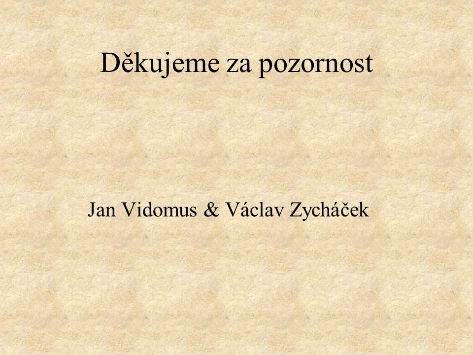 Děkujeme za pozornost Jan Vidomus & Václav Zycháček