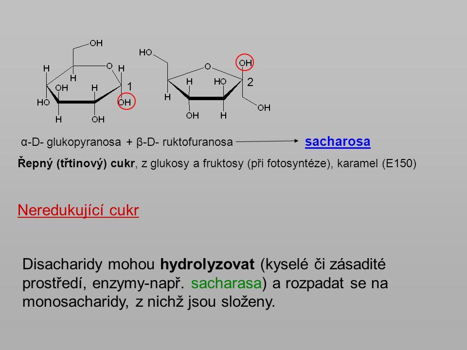 α-D- glukopyranosa + β-D- ruktofuranosa sacharosa Řepný (třtinový) cukr, z glukosy a fruktosy (při fotosyntéze), karamel (E150) Neredukující cukr 1 2