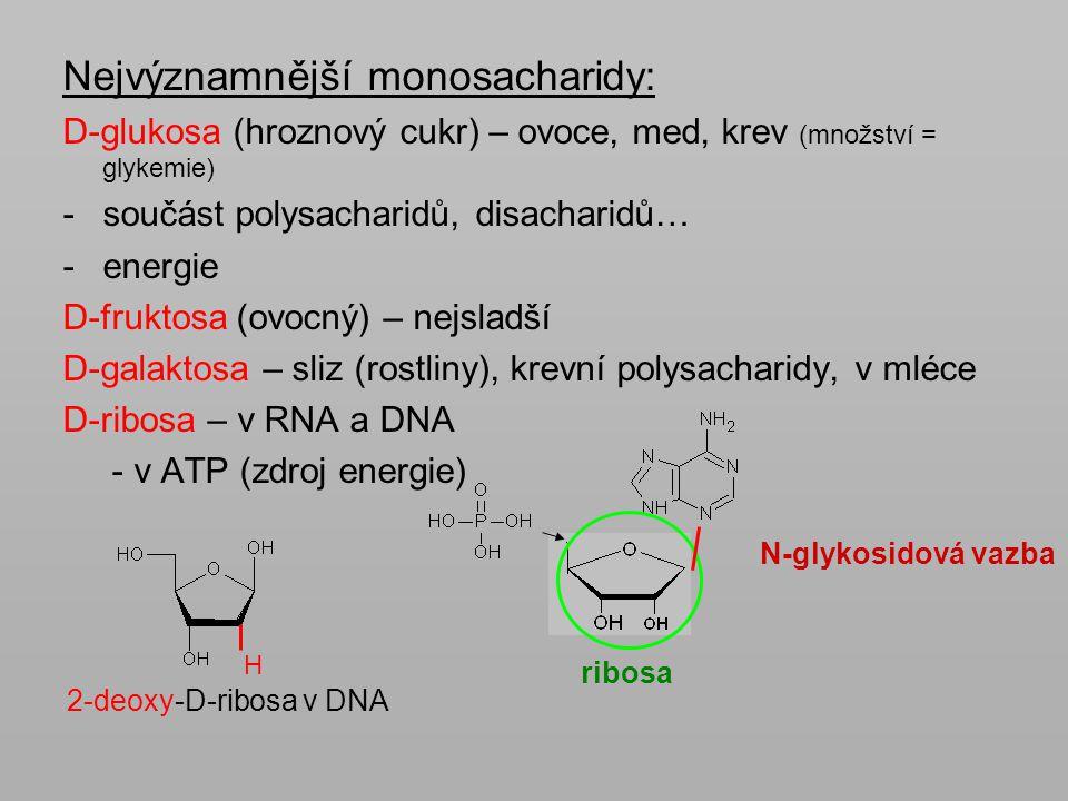 Nejvýznamnější monosacharidy: D-glukosa (hroznový cukr) – ovoce, med, krev (množství = glykemie) -součást polysacharidů, disacharidů… -energie D-frukt