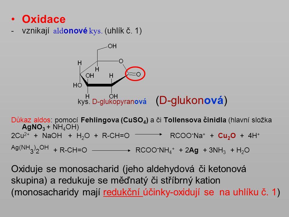 Oxidace -vznikají ald onové kys. (uhlík č. 1) kys. D-glukopyranová (D-glukonová) Důkaz aldos: pomocí Fehlingova (CuSO 4 ) a či Tollensova činidla (hla