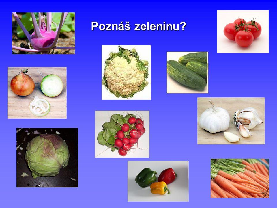 Rozdělení zeleniny Zeleninu můžeme rozdělit do 4 skupin KOŘENOVÁ- jíme kořeny LISTOVÁ- jíme listy PLODOVÁ- jíme plody CIBULOVÁ- jíme cibule