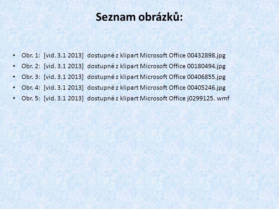Seznam obrázků: Obr. 1: [vid. 3.1 2013] dostupné z klipart Microsoft Office 00432898.jpg Obr. 2: [vid. 3.1 2013] dostupné z klipart Microsoft Office 0
