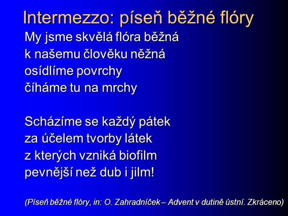 Intermezzo: píseň běžné flóry My jsme skvělá flóra běžná k našemu člověku něžná osídlíme povrchy číháme tu na mrchy Scházíme se každý pátek za účelem