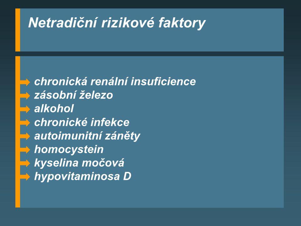 chronická renální insuficience zásobní železo alkohol chronické infekce autoimunitní záněty homocystein kyselina močová hypovitaminosa D Netradiční rizikové faktory