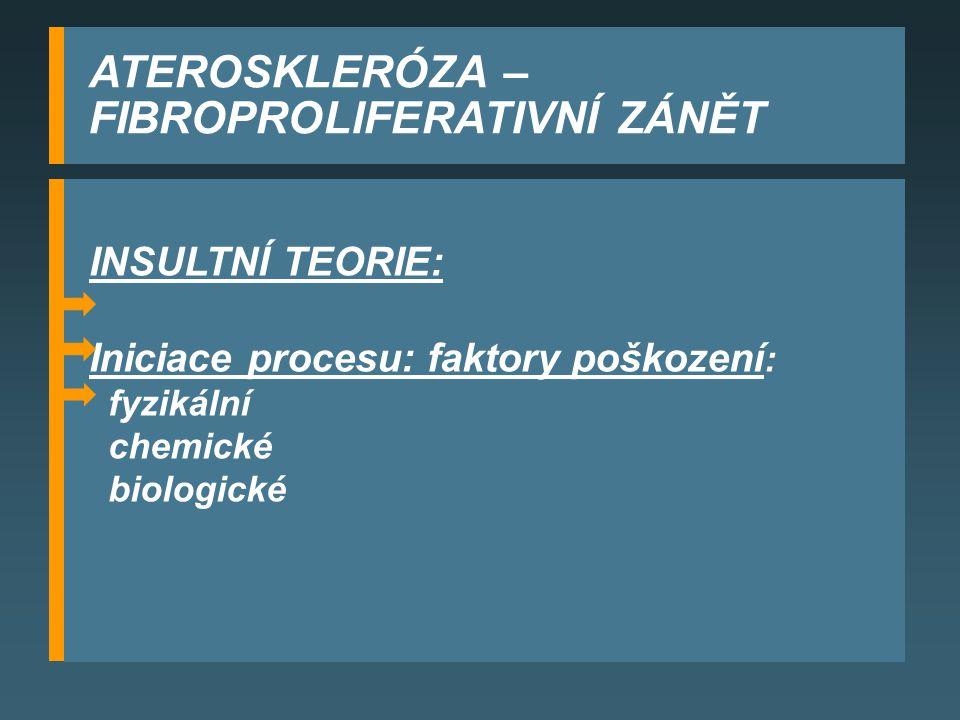 ATEROSKLERÓZA – FIBROPROLIFERATIVNÍ ZÁNĚT INSULTNÍ TEORIE: Iniciace procesu: faktory poškození : fyzikální chemické biologické