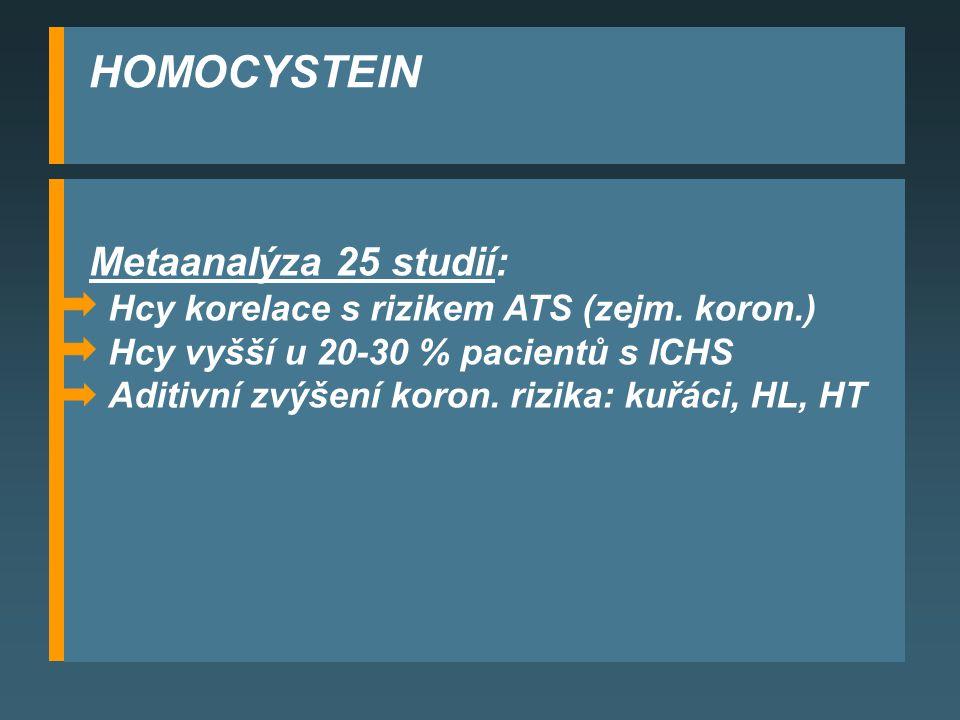 HOMOCYSTEIN Metaanalýza 25 studií: Hcy korelace s rizikem ATS (zejm.