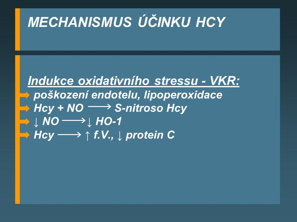 MECHANISMUS ÚČINKU HCY Indukce oxidativního stressu - VKR: poškození endotelu, lipoperoxidace Hcy + NO S-nitroso Hcy ↓ NO ↓ HO-1 Hcy ↑ f.V., ↓ protein C