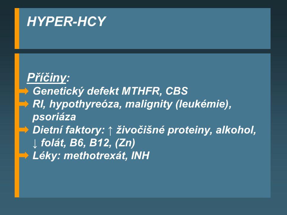 HYPER-HCY Příčiny : Genetický defekt MTHFR, CBS RI, hypothyreóza, malignity (leukémie), psoriáza Dietní faktory: ↑ živočišné proteiny, alkohol, ↓ folát, B6, B12, (Zn) Léky: methotrexát, INH