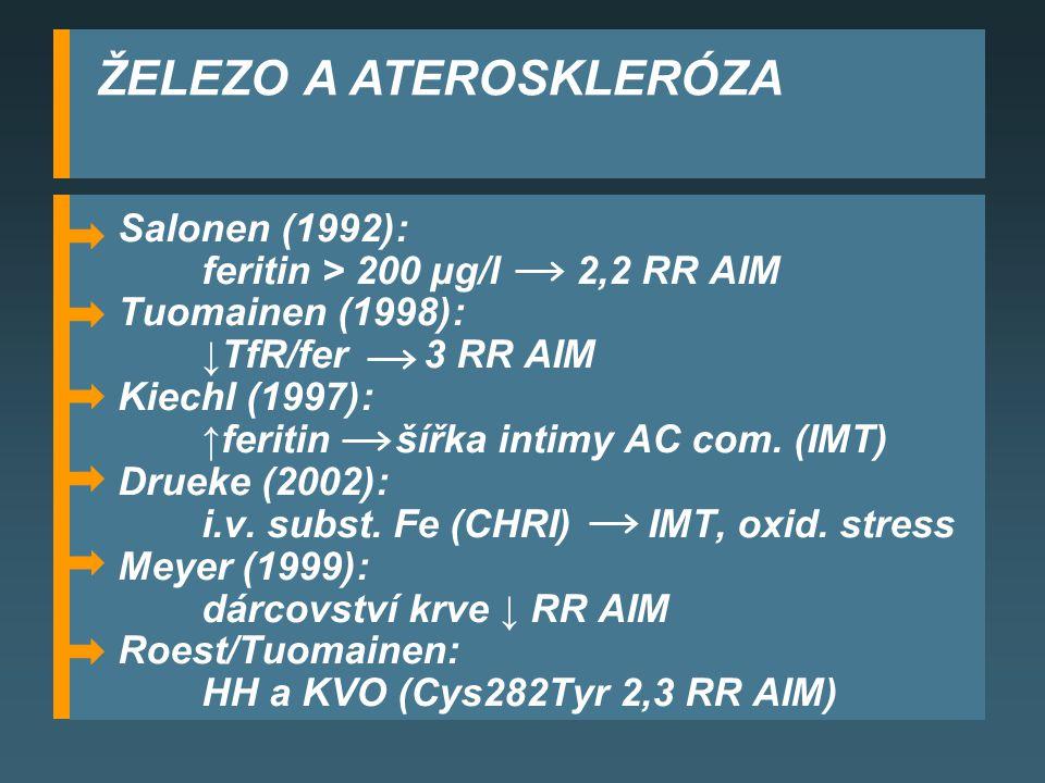 ŽELEZO A ATEROSKLERÓZA Salonen (1992): feritin > 200 µg/l 2,2 RR AIM Tuomainen (1998): ↓TfR/fer 3 RR AIM Kiechl (1997): ↑feritin šířka intimy AC com.