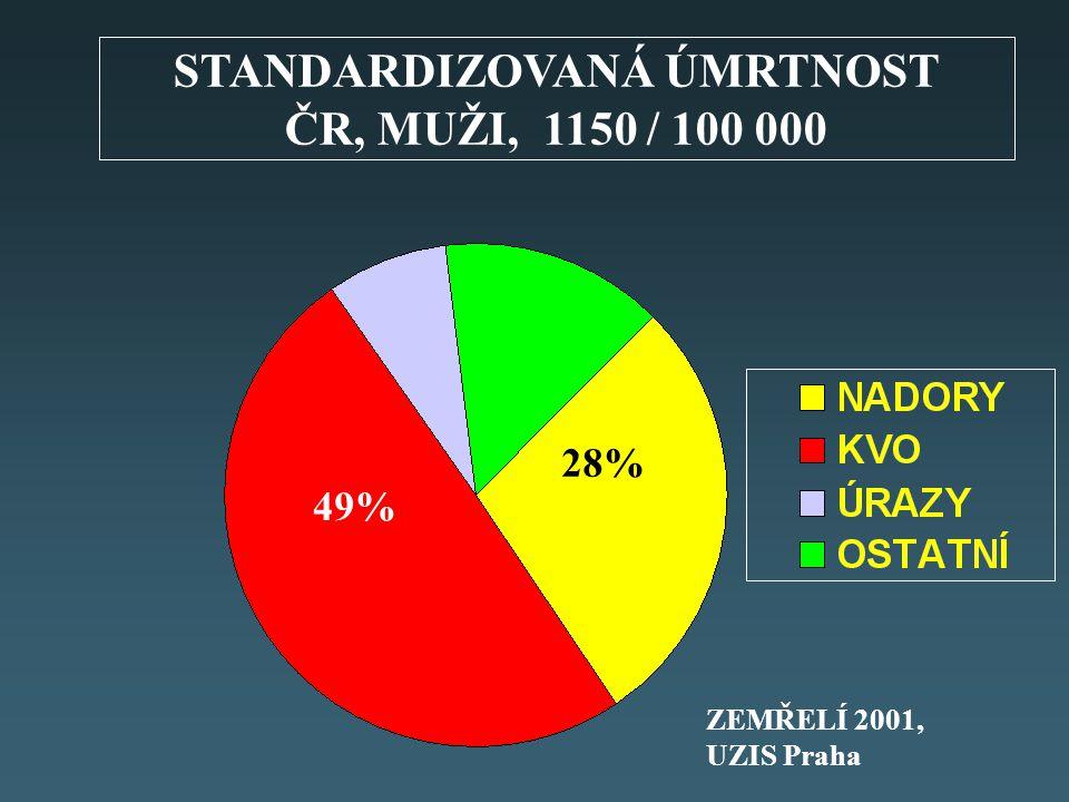 STANDARDIZOVANÁ ÚMRTNOST ČR, MUŽI, 1150 / 100 000 28% 49% ZEMŘELÍ 2001, UZIS Praha