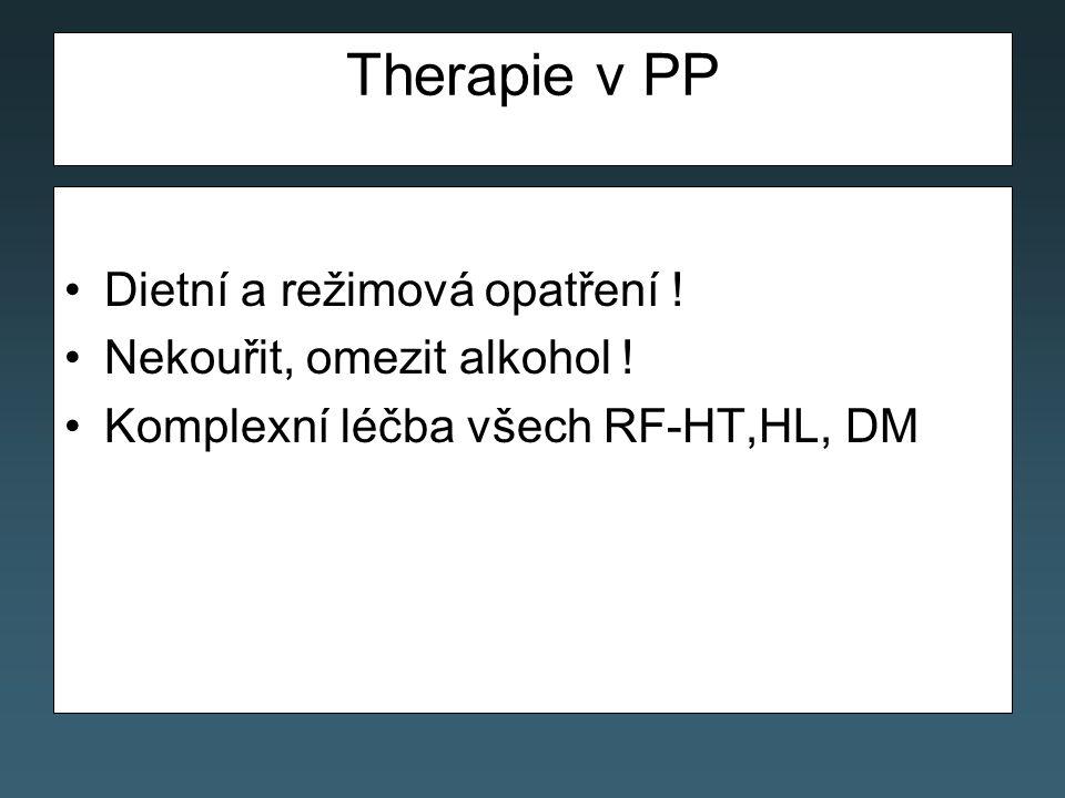 Therapie v PP Dietní a režimová opatření .Nekouřit, omezit alkohol .