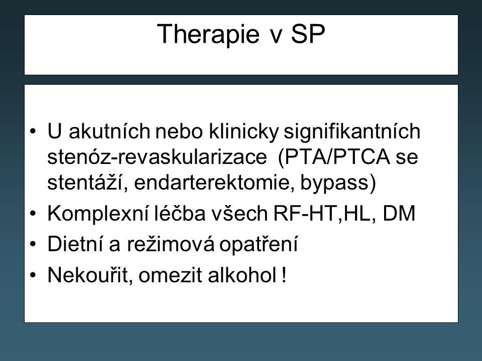 Therapie v SP U akutních nebo klinicky signifikantních stenóz-revaskularizace (PTA/PTCA se stentáží, endarterektomie, bypass) Komplexní léčba všech RF-HT,HL, DM Dietní a režimová opatření Nekouřit, omezit alkohol !