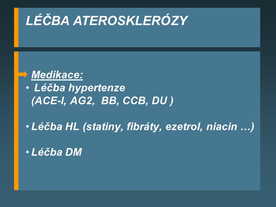 LÉČBA ATEROSKLERÓZY Medikace: Léčba hypertenze (ACE-I, AG2, BB, CCB, DU ) Léčba HL (statiny, fibráty, ezetrol, niacin …) Léčba DM