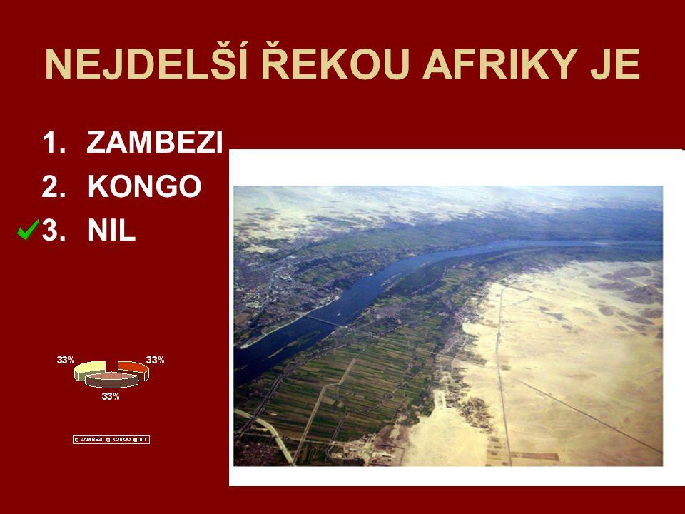 NEJDELŠÍ ŘEKOU AFRIKY JE 1.ZAMBEZI 2.KONGO 3.NIL