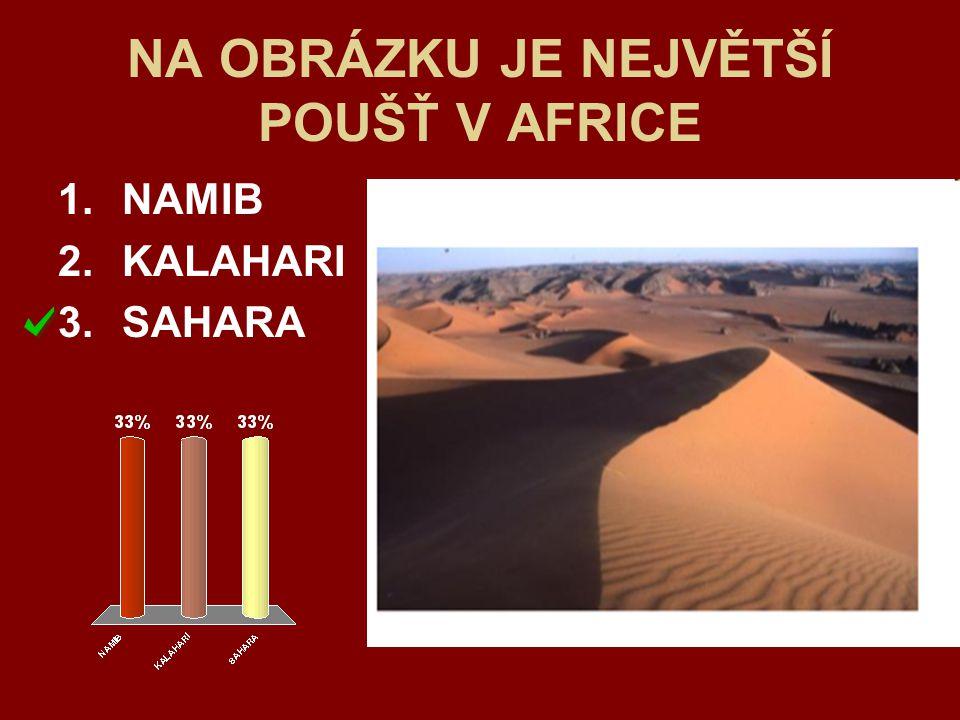 NA OBRÁZKU JE NEJVĚTŠÍ POUŠŤ V AFRICE 1.NAMIB 2.KALAHARI 3.SAHARA