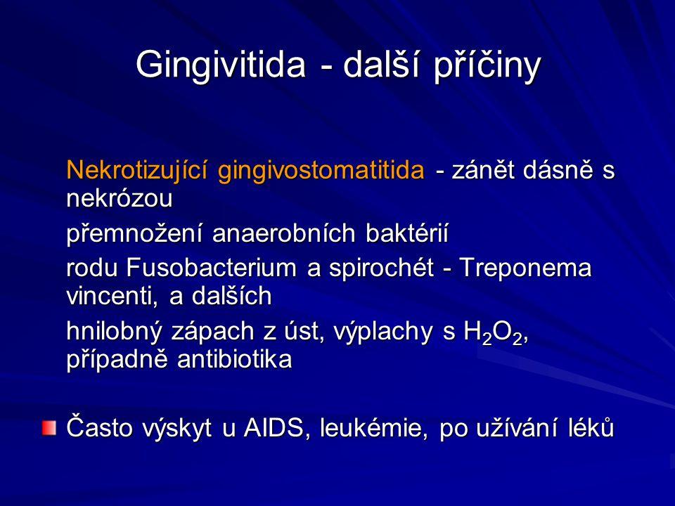 Gingivitida - další příčiny Nekrotizující gingivostomatitida - zánět dásně s nekrózou přemnožení anaerobních baktérií rodu Fusobacterium a spirochét -