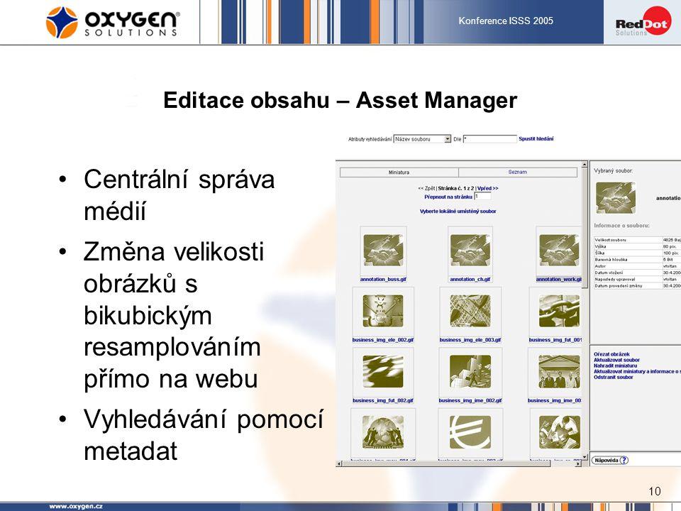 Konference ISSS 2005 10 Editace obsahu – Asset Manager Centrální správa médií Změna velikosti obrázků s bikubickým resamplováním přímo na webu Vyhledávání pomocí metadat