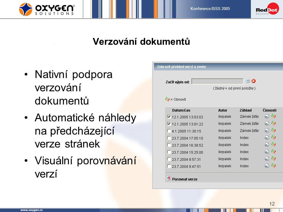 Konference ISSS 2005 12 Verzování dokumentů Nativní podpora verzování dokumentů Automatické náhledy na předcházející verze stránek Visuální porovnávání verzí