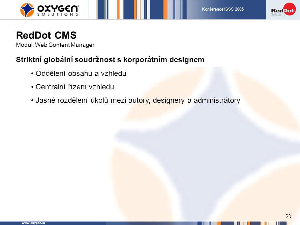 Konference ISSS 2005 20 RedDot CMS Modul: Web Content Manager Striktní globální soudržnost s korporátním designem Oddělení obsahu a vzhledu Centrální