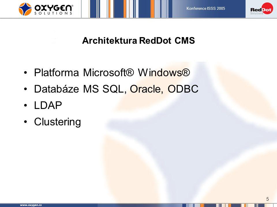 Konference ISSS 2005 5 Architektura RedDot CMS Platforma Microsoft® Windows® Databáze MS SQL, Oracle, ODBC LDAP Clustering