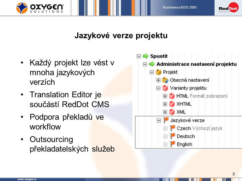 Konference ISSS 2005 8 Jazykové verze projektu Každý projekt lze vést v mnoha jazykových verzích Translation Editor je součástí RedDot CMS Podpora překladů ve workflow Outsourcing překladatelských služeb