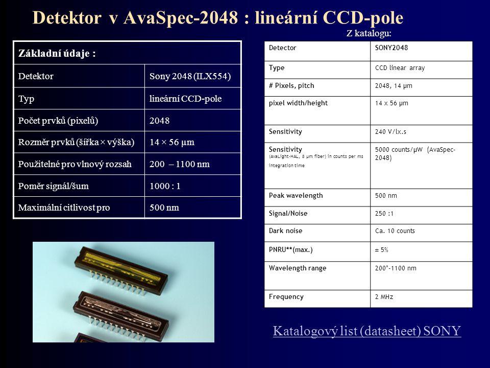 Detektor v AvaSpec-2048 : lineární CCD-pole Základní údaje : DetektorSony 2048 (ILX554) Typlineární CCD-pole Počet prvků (pixelů)2048 Rozměr prvků (ší
