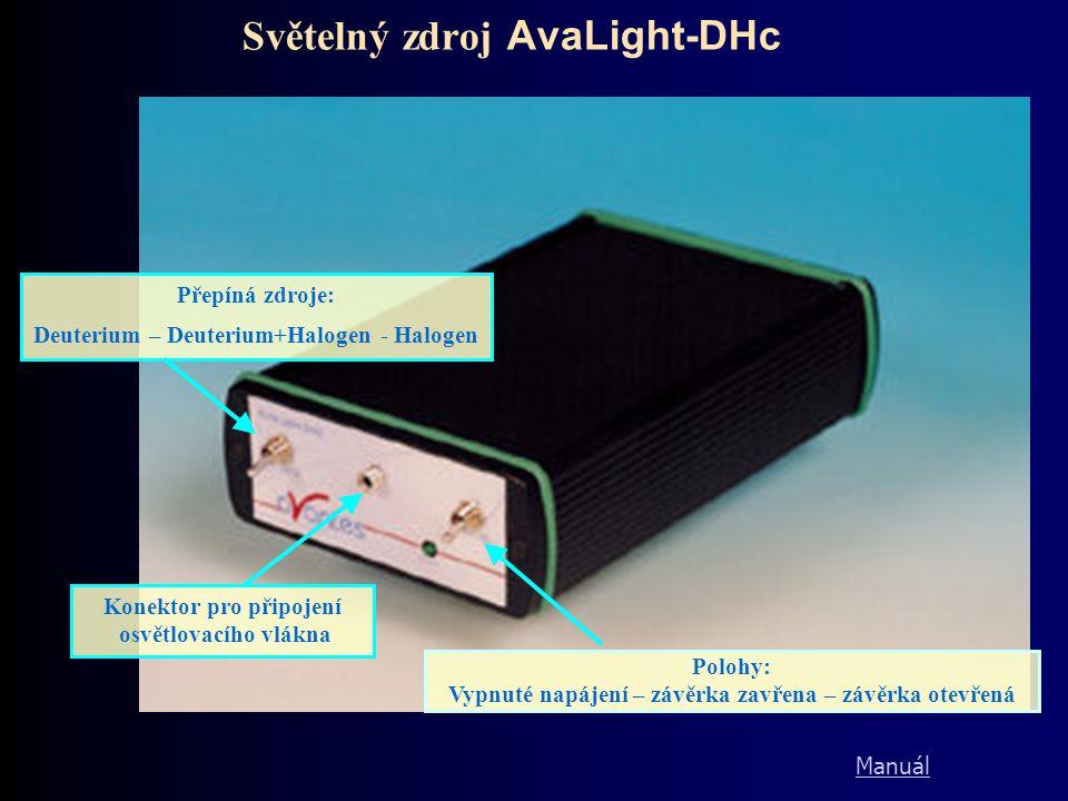 Světelný zdroj AvaLight-DHc Přepíná zdroje: Deuterium – Deuterium+Halogen - Halogen Polohy: Vypnuté napájení – závěrka zavřena – závěrka otevřená Kone