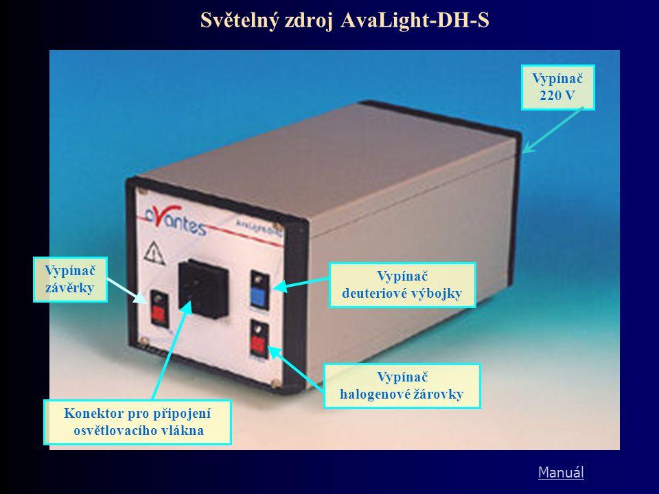 Světelný zdroj AvaLight-DH-S Konektor pro připojení osvětlovacího vlákna Vypínač závěrky Vypínač halogenové žárovky Vypínač deuteriové výbojky Vypínač