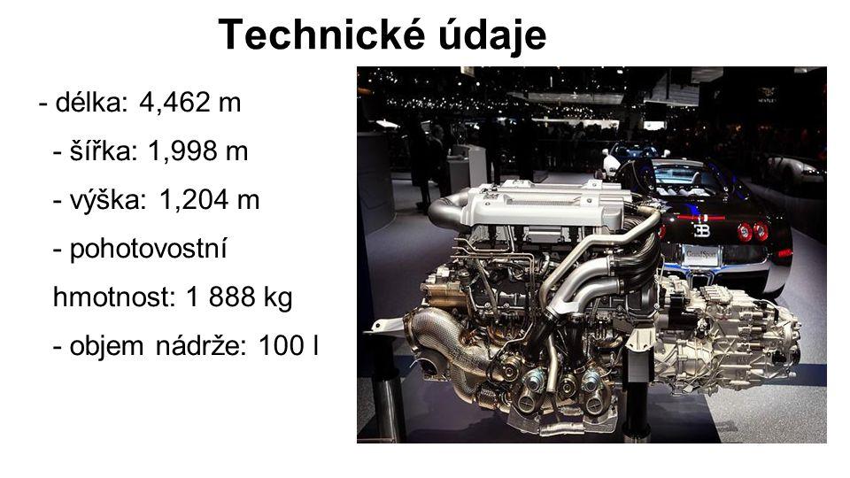 Technické údaje - délka: 4,462 m - šířka: 1,998 m - výška: 1,204 m - pohotovostní hmotnost: 1 888 kg - objem nádrže: 100 l