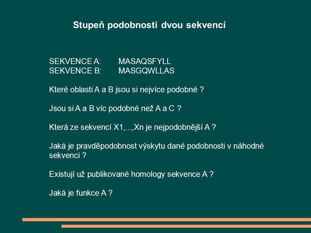 SEKVENCE A:MASAQSFYLL SEKVENCE B:MASGQWLLAS Které oblasti A a B jsou si nejvíce podobné .
