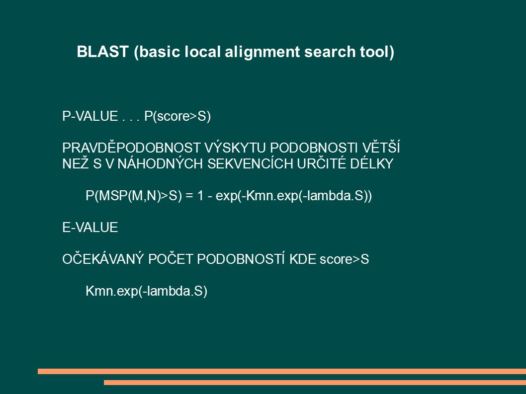 BLAST (basic local alignment search tool) P-VALUE...