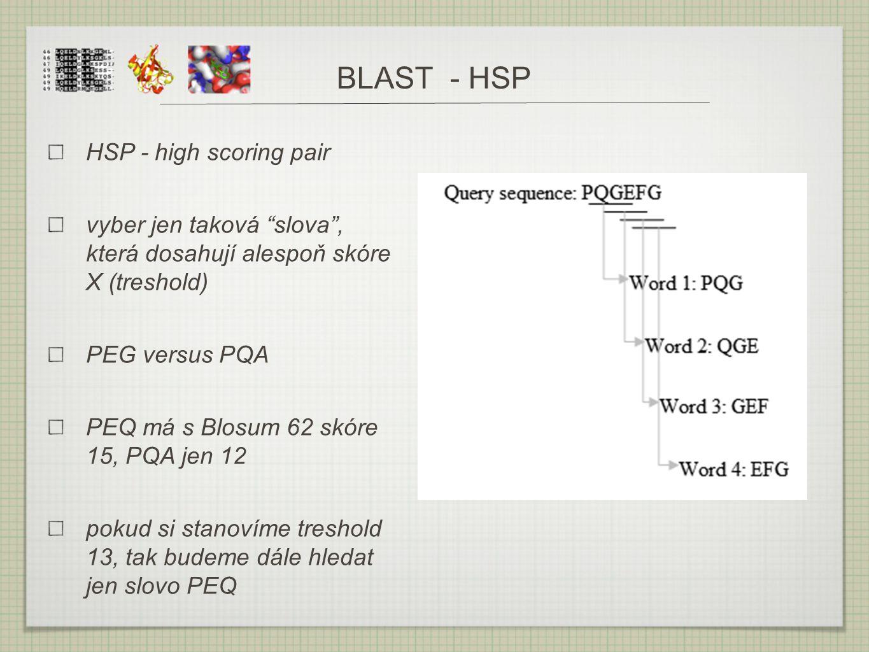 "BLAST - HSP HSP - high scoring pair vyber jen taková ""slova"", která dosahují alespoň skóre X (treshold) PEG versus PQA PEQ má s Blosum 62 skóre 15, PQ"