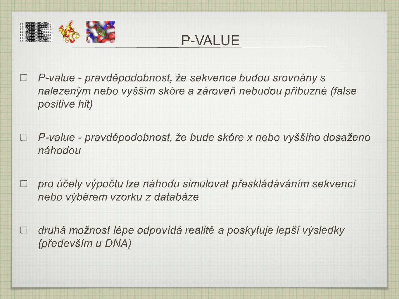 P-VALUE P-value - pravděpodobnost, že sekvence budou srovnány s nalezeným nebo vyšším skóre a zároveň nebudou příbuzné (false positive hit) P-value -