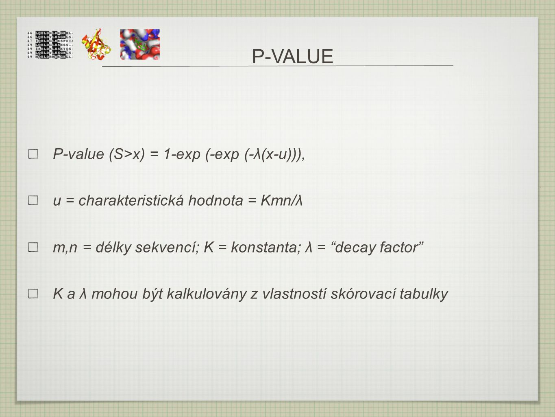 "P-VALUE P-value (S>x) = 1-exp (-exp (-λ(x-u))), u = charakteristická hodnota = Kmn/λ m,n = délky sekvencí; K = konstanta; λ = ""decay factor"" K a λ moh"