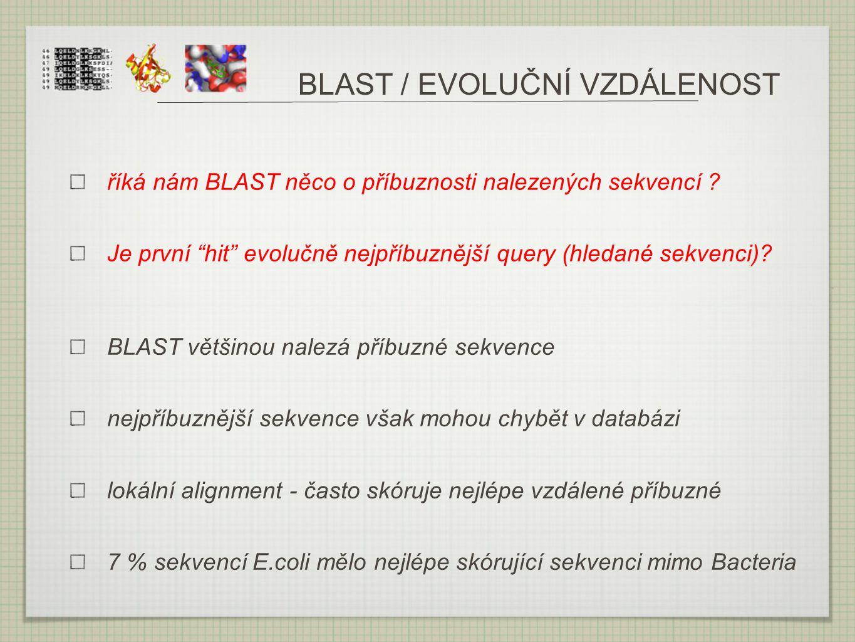 """BLAST / EVOLUČNÍ VZDÁLENOST říká nám BLAST něco o příbuznosti nalezených sekvencí ? Je první """"hit"""" evolučně nejpříbuznější query (hledané sekvenci)? B"""