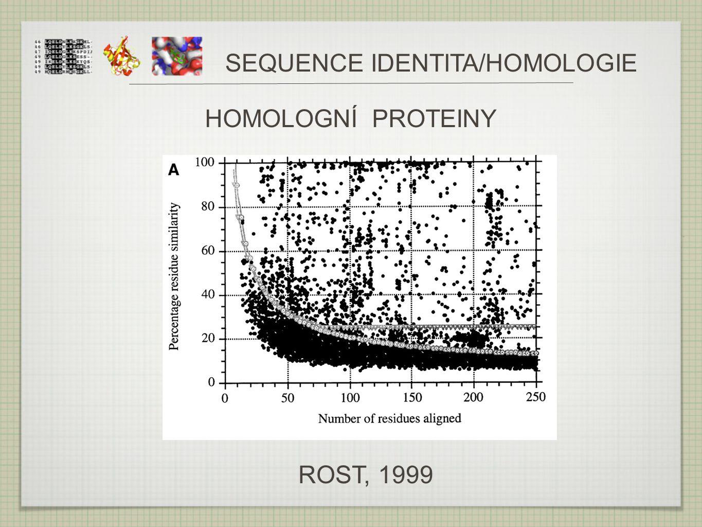 SEQUENCE IDENTITA/HOMOLOGIE ROST, 1999 HOMOLOGNÍ PROTEINY