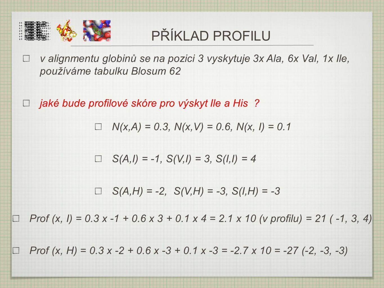 PŘÍKLAD PROFILU v alignmentu globinů se na pozici 3 vyskytuje 3x Ala, 6x Val, 1x Ile, používáme tabulku Blosum 62 jaké bude profilové skóre pro výskyt