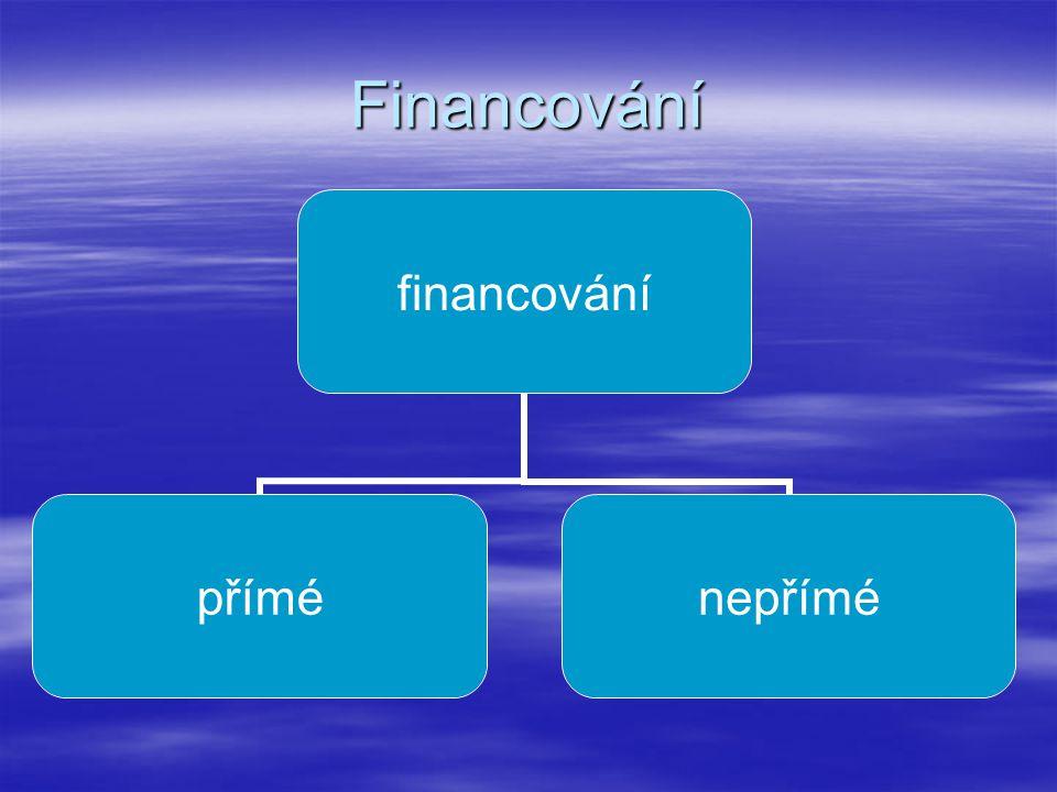 Financování financování příménepřímé