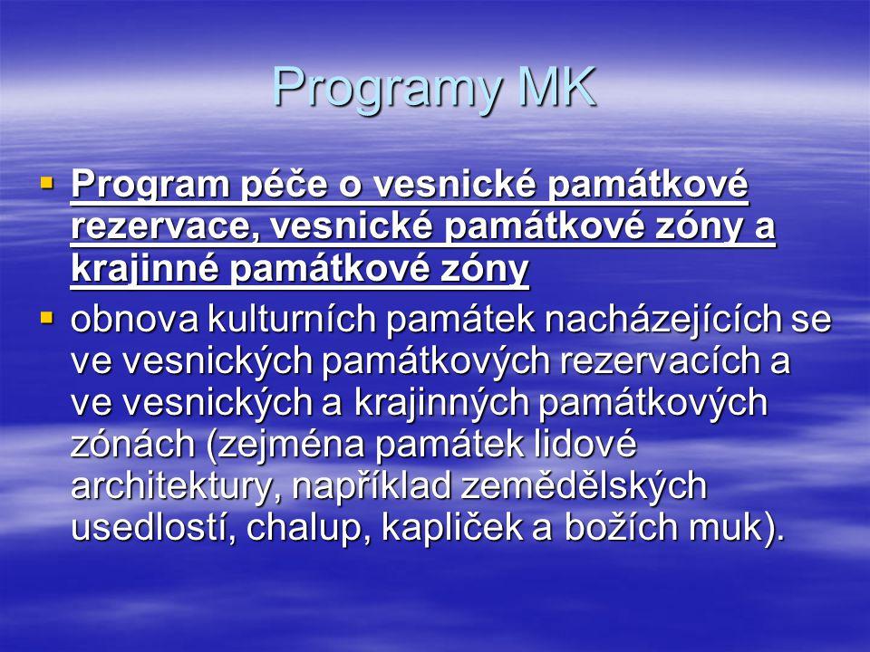 Programy MK  Program péče o vesnické památkové rezervace, vesnické památkové zóny a krajinné památkové zóny  obnova kulturních památek nacházejících