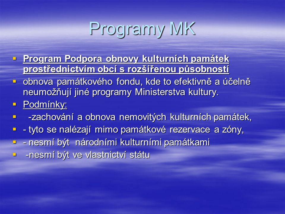 Programy MK  Program Podpora obnovy kulturních památek prostřednictvím obcí s rozšířenou působností  obnova památkového fondu, kde to efektivně a úč