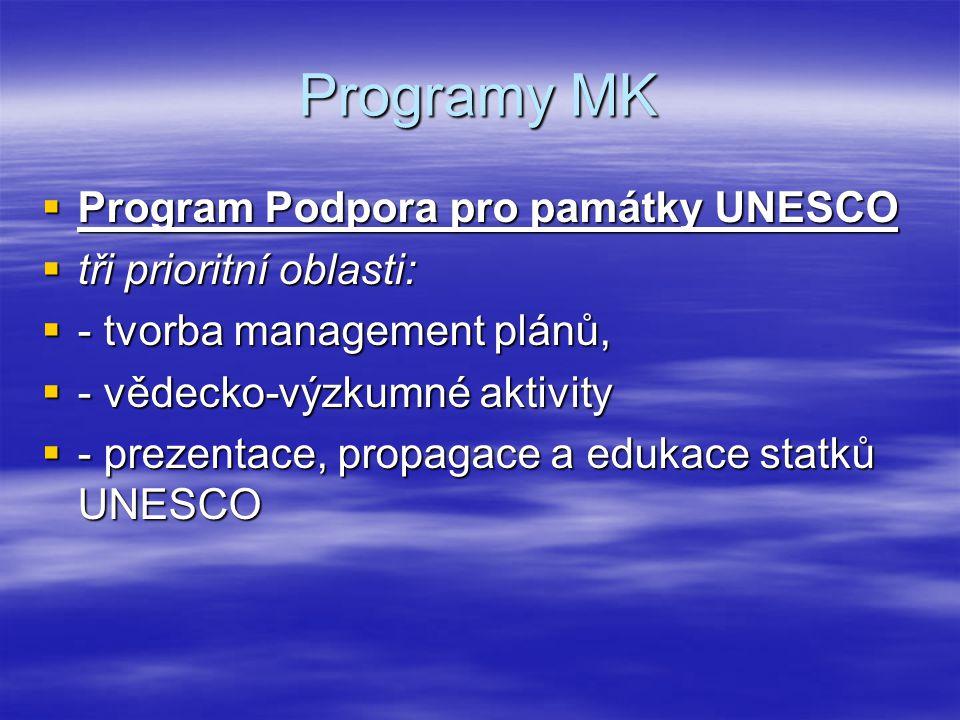 Programy MK  Program Podpora pro památky UNESCO  tři prioritní oblasti:  - tvorba management plánů,  - vědecko-výzkumné aktivity  - prezentace, p
