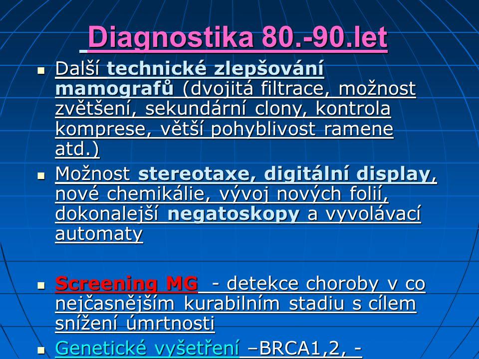 Diagnostika 80.-90.let Diagnostika 80.-90.let Další technické zlepšování mamografů (dvojitá filtrace, možnost zvětšení, sekundární clony, kontrola kom