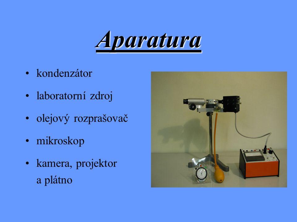 Aparatura kondenzátor laboratorní zdroj olejový rozprašovač mikroskop kamera, projektor a plátno