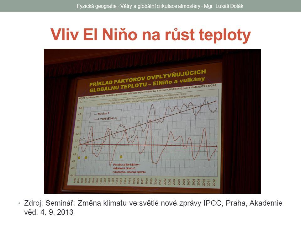 Vliv El Niňo na růst teploty Zdroj: Seminář: Změna klimatu ve světlé nové zprávy IPCC, Praha, Akademie věd, 4.