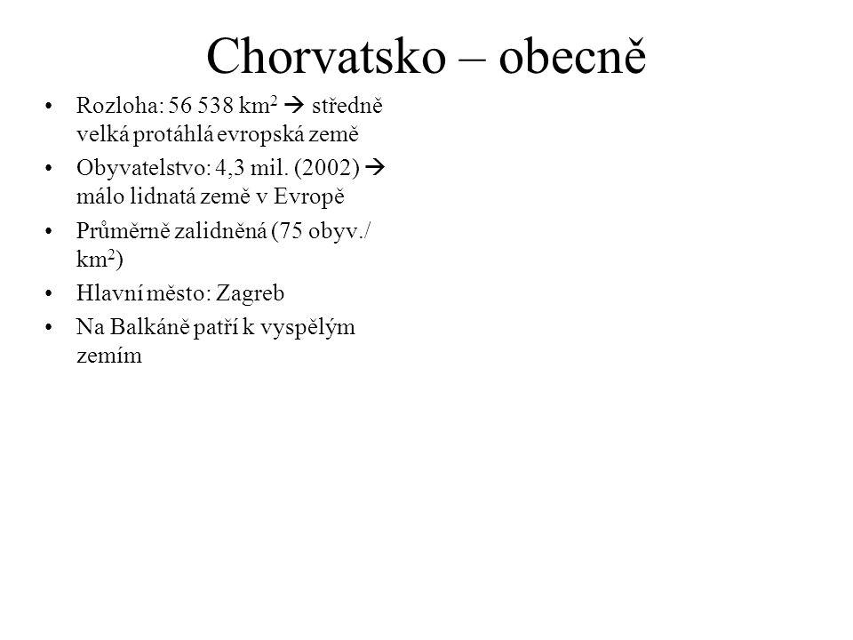 Chorvatsko – obecně Rozloha: 56 538 km 2  středně velká protáhlá evropská země Obyvatelstvo: 4,3 mil. (2002)  málo lidnatá země v Evropě Průměrně za