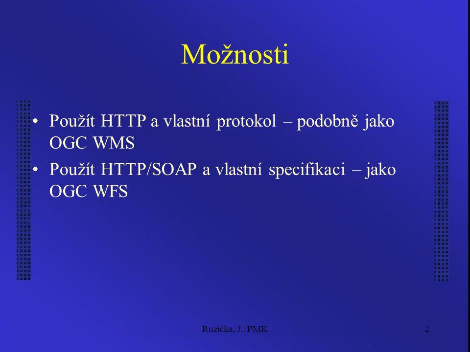 Ruzicka, J.: PMK2 Možnosti Použít HTTP a vlastní protokol – podobně jako OGC WMS Použít HTTP/SOAP a vlastní specifikaci – jako OGC WFS
