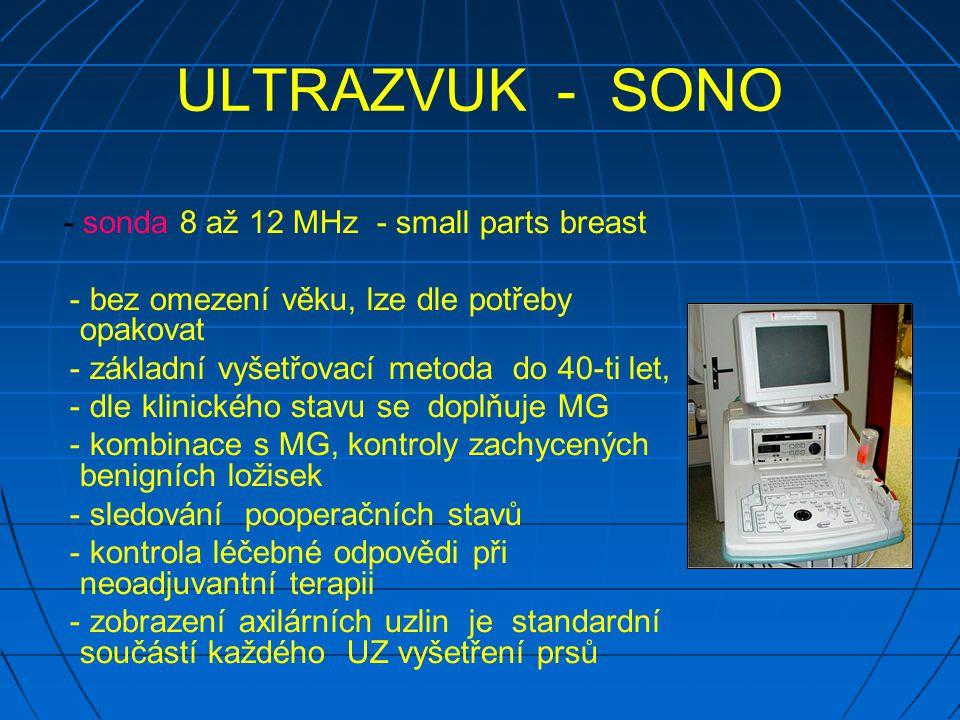 ULTRAZVUK - SONO - sonda 8 až 12 MHz - small parts breast - bez omezení věku, lze dle potřeby opakovat - základní vyšetřovací metoda do 40-ti let, - dle klinického stavu se doplňuje MG - kombinace s MG, kontroly zachycených benigních ložisek - sledování pooperačních stavů - kontrola léčebné odpovědi při neoadjuvantní terapii - zobrazení axilárních uzlin je standardní součástí každého UZ vyšetření prsů