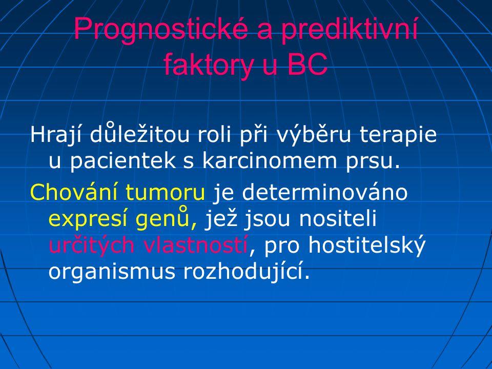 Prognostické a prediktivní faktory u BC Hrají důležitou roli při výběru terapie u pacientek s karcinomem prsu. Chování tumoru je determinováno expresí