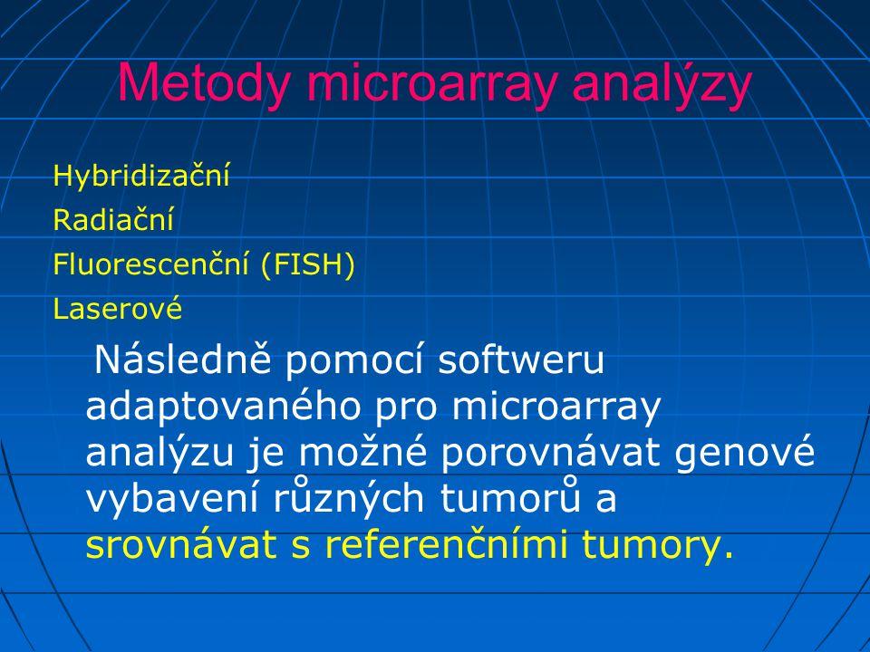 Metody microarray analýzy Hybridizační Radiační Fluorescenční (FISH) Laserové Následně pomocí softweru adaptovaného pro microarray analýzu je možné porovnávat genové vybavení různých tumorů a srovnávat s referenčními tumory.