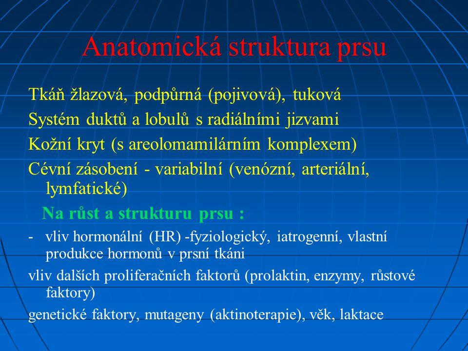 Anatomická struktura prsu Tkáň žlazová, podpůrná (pojivová), tuková Systém duktů a lobulů s radiálními jizvami Kožní kryt (s areolomamilárním komplexem) Cévní zásobení - variabilní (venózní, arteriální, lymfatické) Na růst a strukturu prsu : - vliv hormonální (HR) -fyziologický, iatrogenní, vlastní produkce hormonů v prsní tkáni vliv dalších proliferačních faktorů (prolaktin, enzymy, růstové faktory) genetické faktory, mutageny (aktinoterapie), věk, laktace
